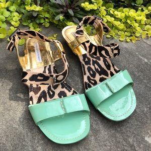 DVF Gold Mint Patent Leather Leopard Print Sandals